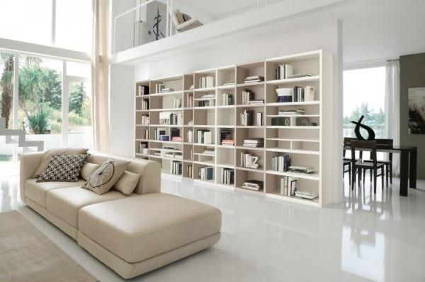 biblioteca sufragerie realizata din pal cu adancime mica