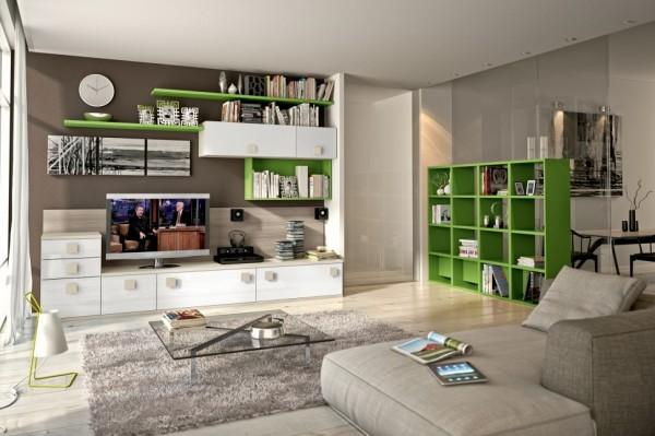 mobila sufragerie combinatie alb verde