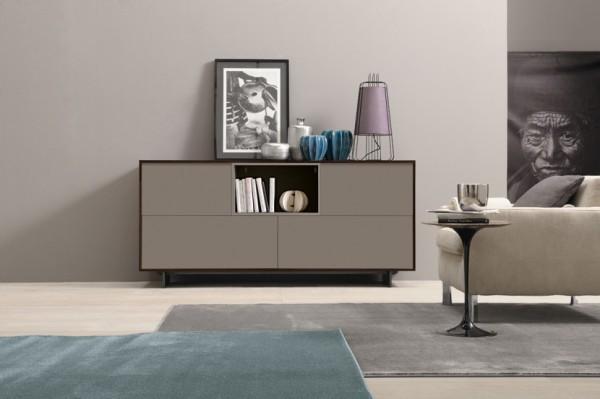 mobila sufragerie comoda din pal wenge cu usi gri