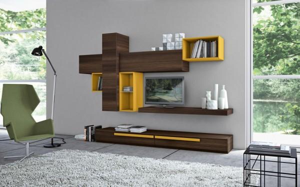 mobila sufragerie ieftina finisaj nuc inchis cu elemente galbene