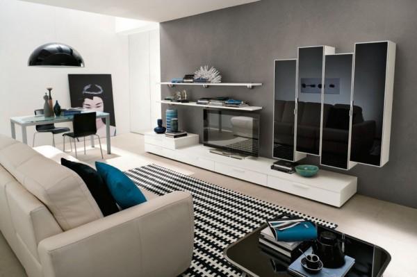mobila sugragerie cu rafturi si dulapuri suspendate combinatie alb negru lucios