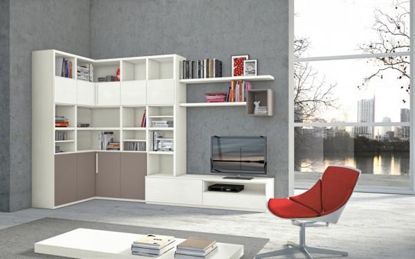 mobila sufragerie culoare predominanta alb si bej