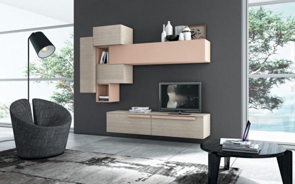 mobila sufragerie stejar albit si corpuri roz pal
