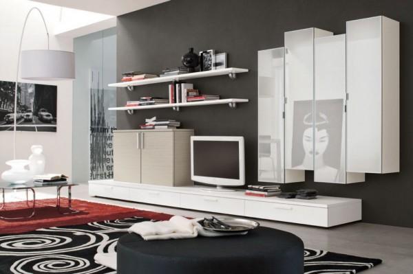mobila sufragerie cu usi albe lucioase