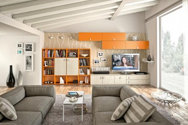 mobila-sufragerie-vopsita-portocaliu