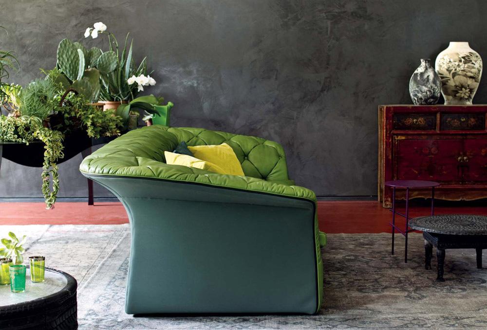design vintage canapea piele verde