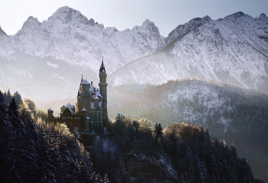 Peisaje frumoase castel in varf de munte peisaj de poveste