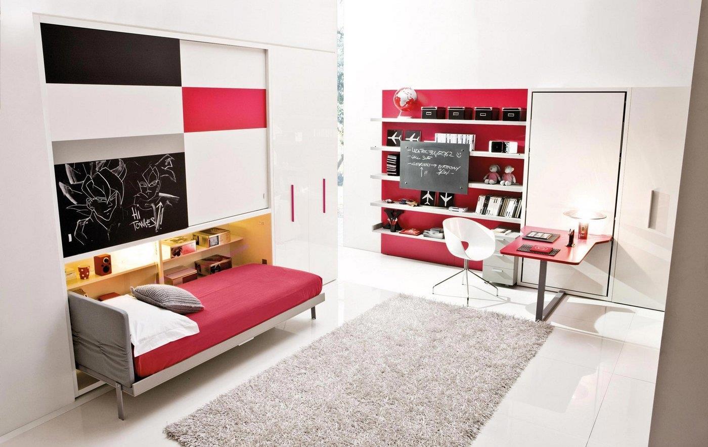 mobila inteligenta, birou si pat alb cu rosu