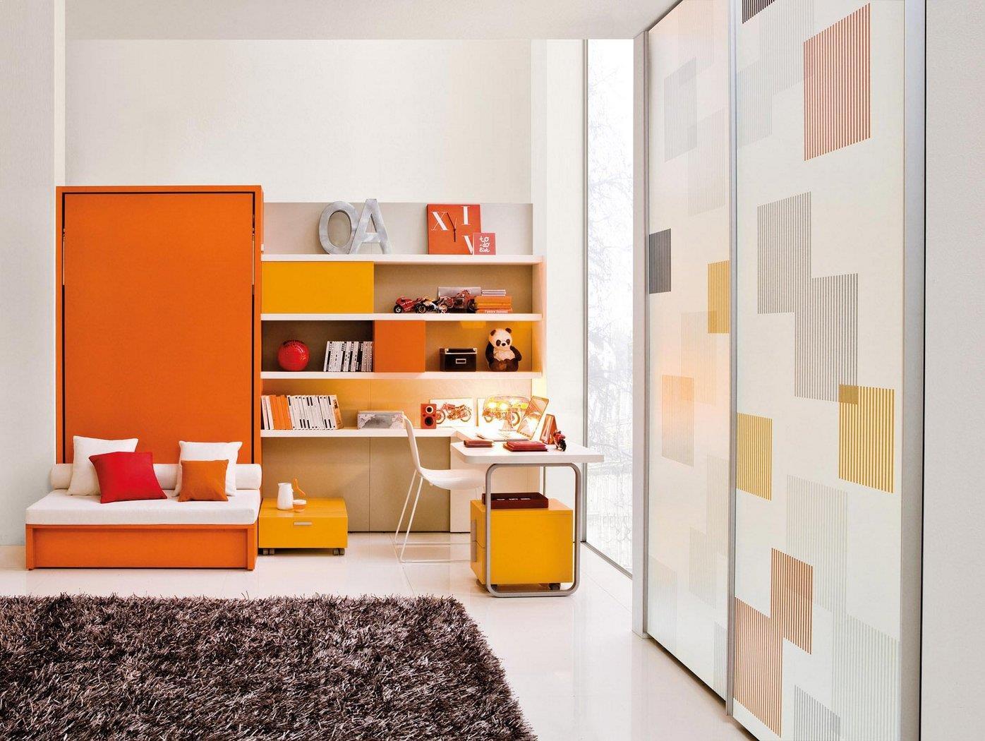 design interior camera cpii mobilier inteligent orange alb