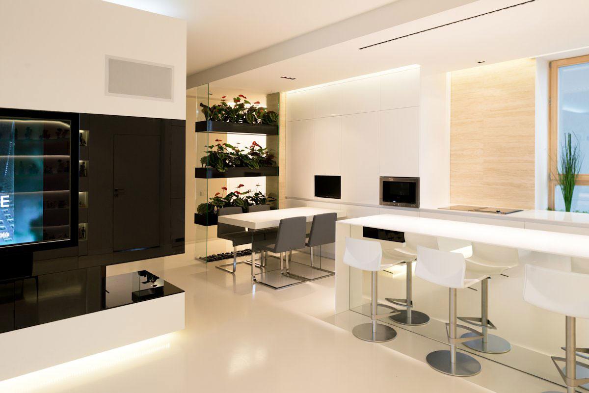 amenajare moderna cu plante de apartament