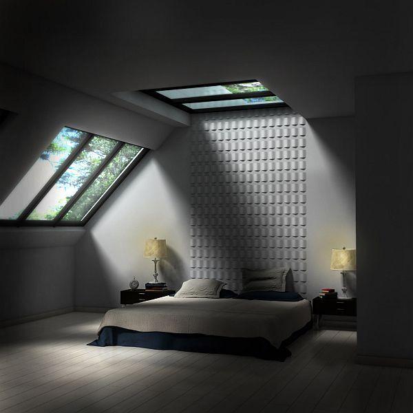 dormitor în mansarda